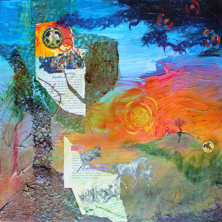 """His Heart in Texas, 24""""x24"""" mixed media collage, 2011"""