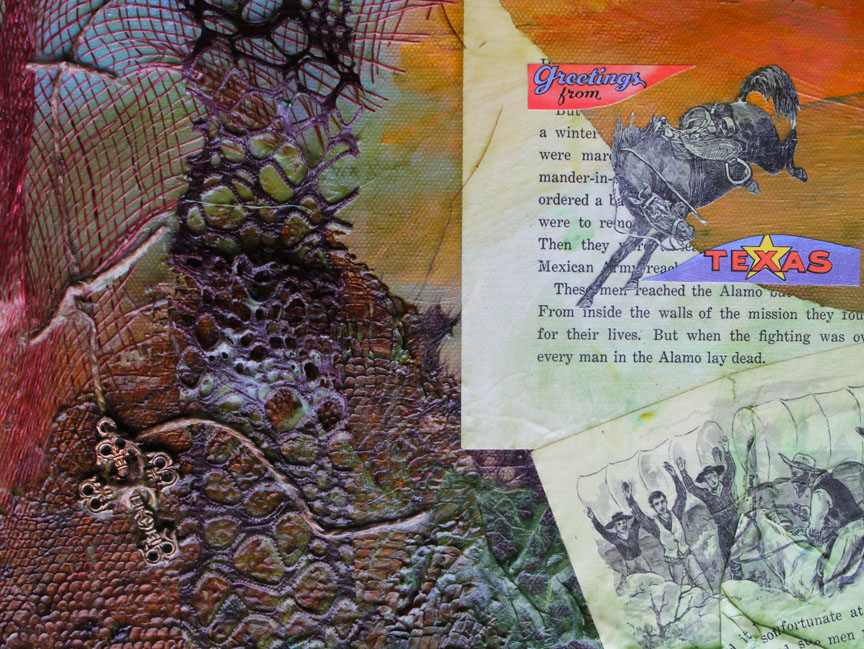 """His Heart in Texas (detail image) 24""""x24"""" mixed media collage, 2011"""