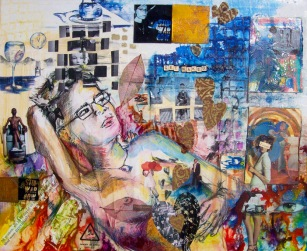 Get naked or leave, 20in x 24in, mixed media collage on canvas (developed on an original sketch from art night), 2006