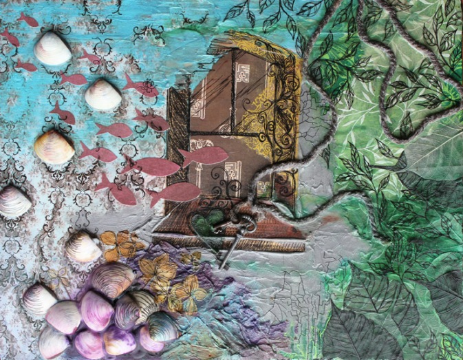 Terceira I, 14in x 18in mixed media collage on canvas, 2011