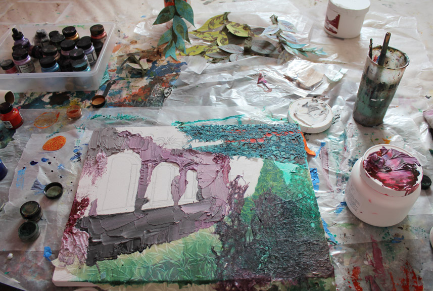 In process, while working in my studio