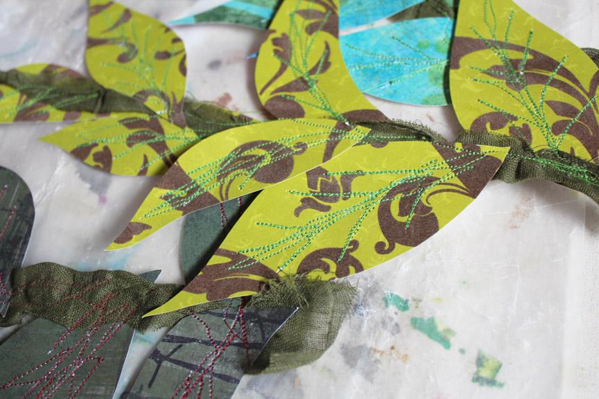 sewn leaves, detail