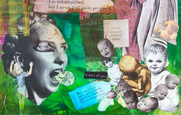Figure 3.60: Not Surprised (detail image), 16.5in x 12.5in, mixed media visual journal 2009
