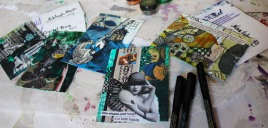Finished postcards ready to mail.