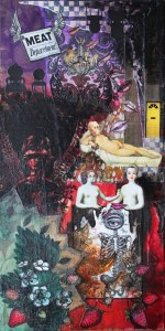 Eros, 24in x 12in mixed media collage on canvas, 2012