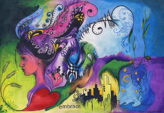 Embrace I, colored pencil, 12.8in x 8.8in, 2009