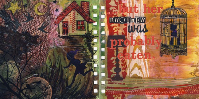 Hansel & Gretel, 6in x 6in visual journal pages, 2011