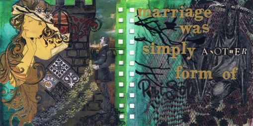 Rapunzel, 6in x 6in visual journal pages, 2011