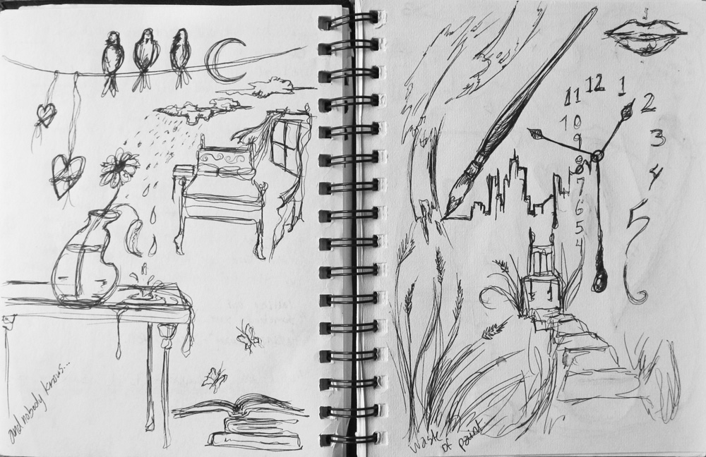 A couple of the sketches used as reference to develop ideas for the surreal series, 2010