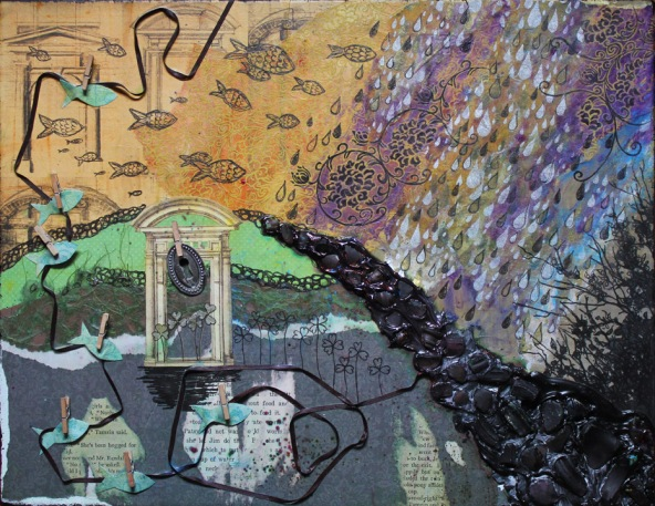 Terceira November, mixed media collage, 2011, 14in x 18in