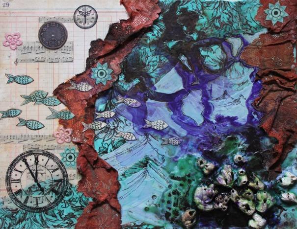 Terceira February, mixed media collage, 14in x 18in, 2011