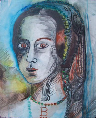 Boleyn, mixed media drawing on canvas, 10in x 12in 2009
