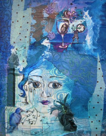 Blue Eyes, mixed media collage, 14in x 18in, 2010