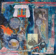 Feel the Spirit of the Air, mixed media on collage, 8in x8in, 2011