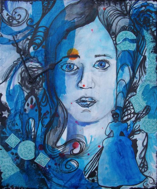 Blue Girl II, mixed media drawing on canvas, 10in x 12in 2009