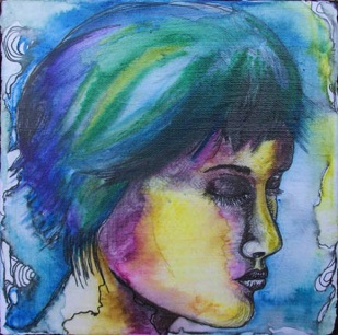 Version of me I, mixed media drawing on canvas, 8in x 8in, 2009