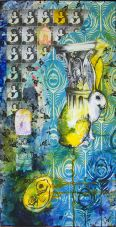 Yellow Rabbit on Blue II, mixed media collage on canvas, 12in x 24in