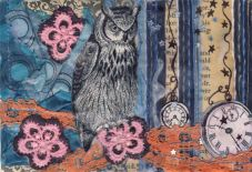 Night Owl, 4in x 6in, art postcard, 2012