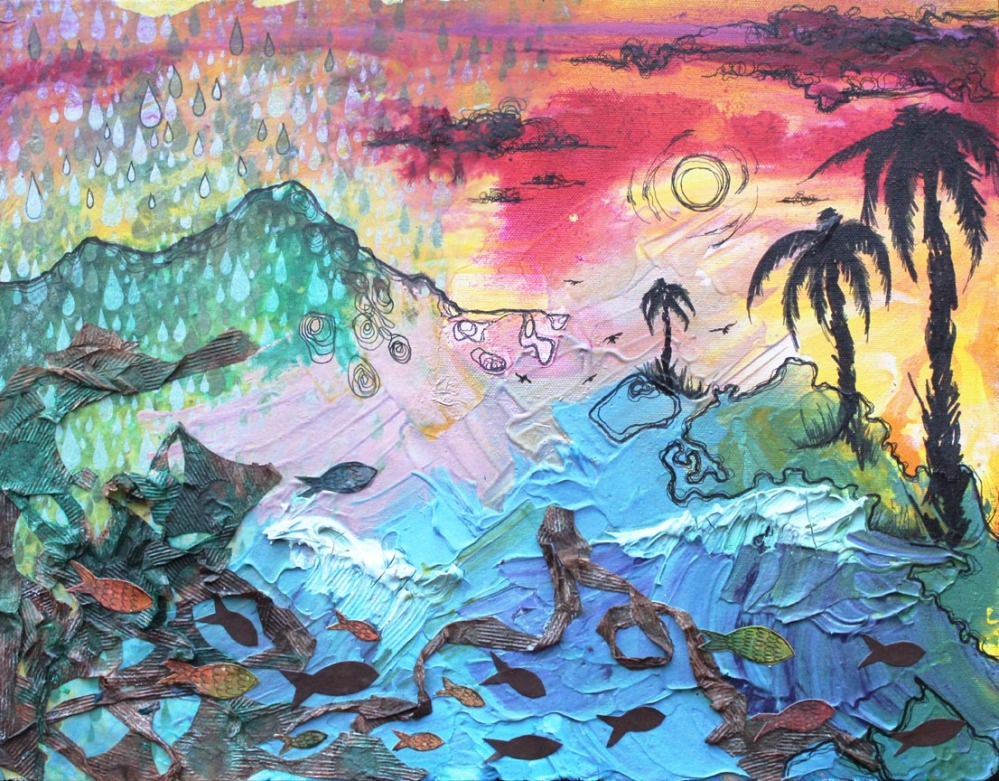 Terceira July, 14in x 18in, mixed media collage on canvas, 2012