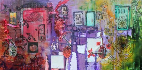 You can go your way, and I can go my way, 18in x 36in, mixed media on canvas, 2012