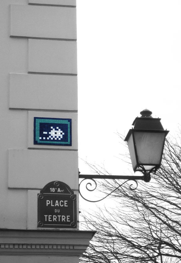 Space Invader street art in Montmartre II, Paris, 2011