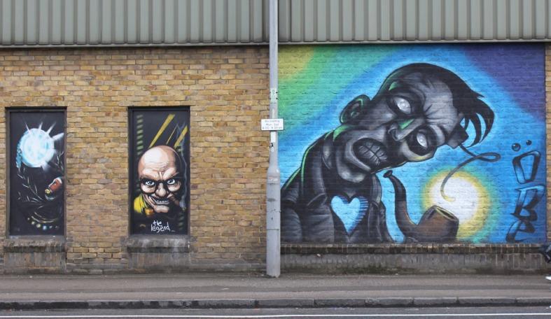 Wall street art created by Blight Society Art, Cambridge 2012