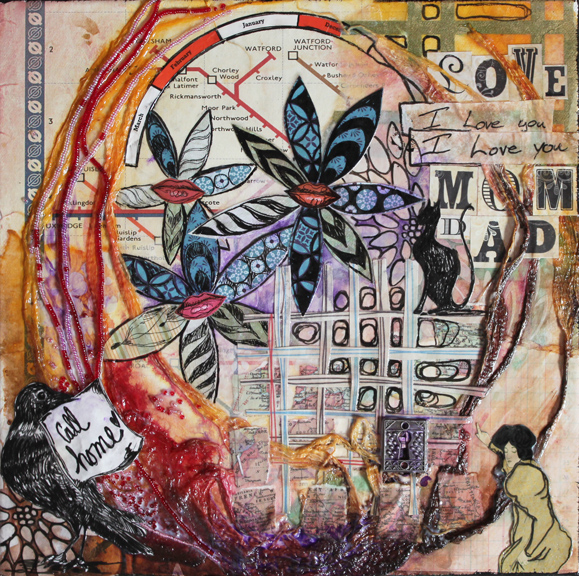 I Love You, Mom & Dad, 12in x 12in mixed media collage on canvas, 2012