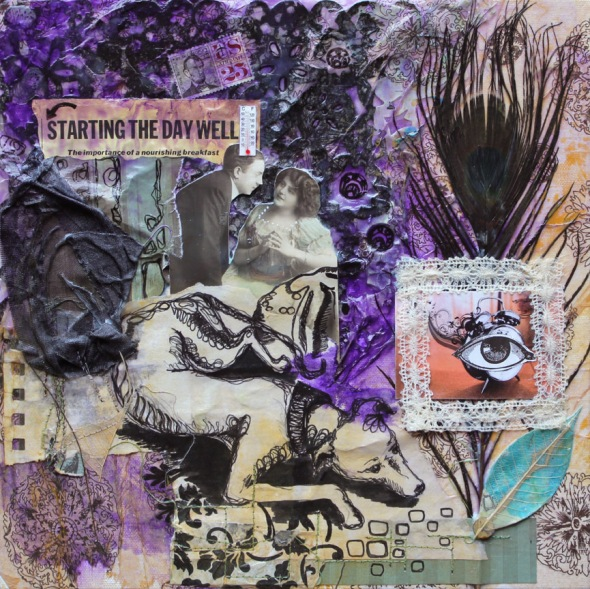 Define Importance, 12in x 12in, mixed media collage on canvas, 2012