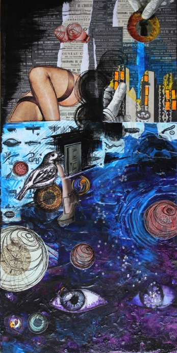Chaos, mixed media collage on canvas, 12in x 24in, 2012