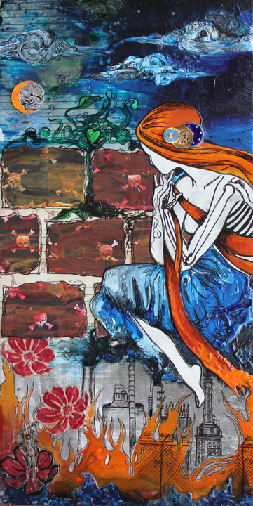 Persephone, 12in x 24in mixed media collage on canvas, 2012