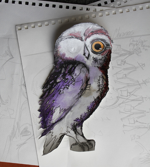 owl sketch, ink, water-soluble pencil