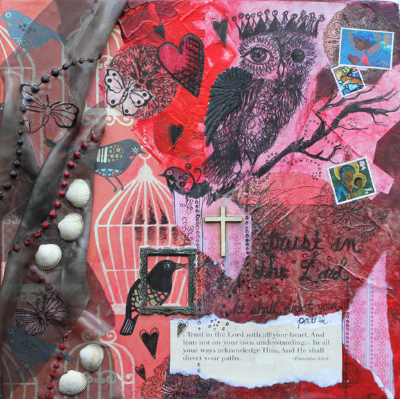 He shall direct your paths. 12in x 12in mixed media collage on canvas, 2012