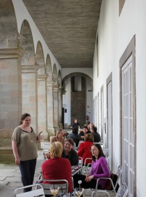 Socializing in the museum courtyard.