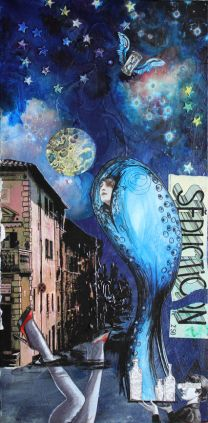 Nyx, 12in x 24in mixed media collage on canvas, 2013