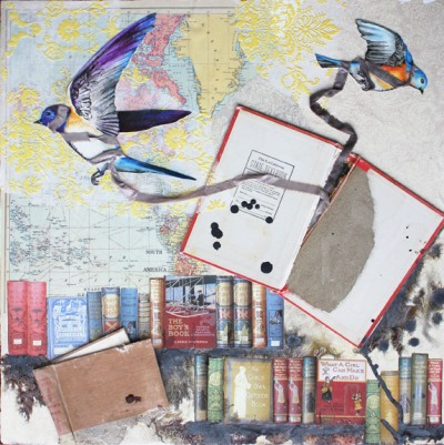 Knowledge without Character I, 24in x 24in mixed media collage on canvas, Carly Swenson 2010