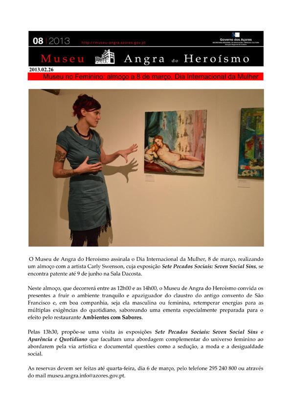 Feb 26, 2013: MAH  Newsletter, announcing International Women's Day Luncheon