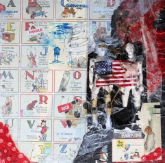 Politics without Principle II, 24in x 24in mixed media collage on canvas, Carly Swenson 2010
