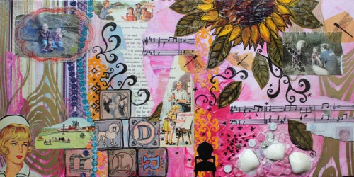 With Love, from David and Luke, mixed media collage on canvas, 24in x 12in, 2013