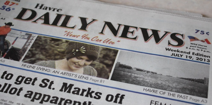 Front page of Havre Daily News.