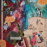 A Little Mending..., 18in x 18in mixed media collage on canvas, 2013