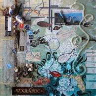 A Sea of Shared Memories, 18in x 18in mixed media collage on canvas, 2013