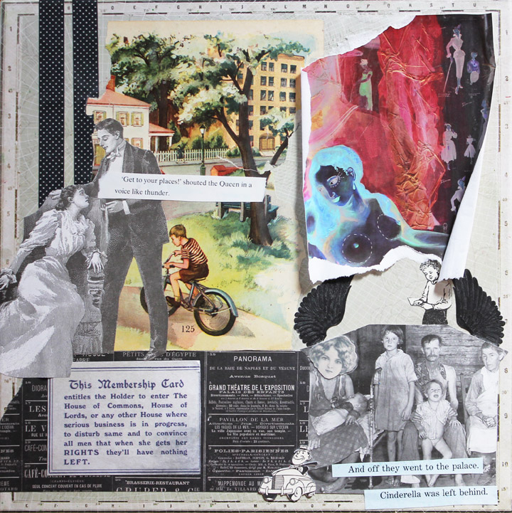 Revoked Membership, 12in x 12in mixed media collage on canvas, 2013
