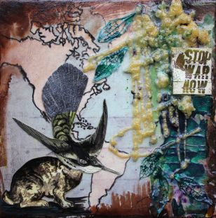 Stop War Now, 8in x 8in, mixed media collage on canvas 2013