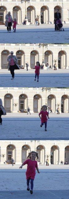 Megan and her daughter, Charlie, frolicking in the courtyard of the Royal Palace.