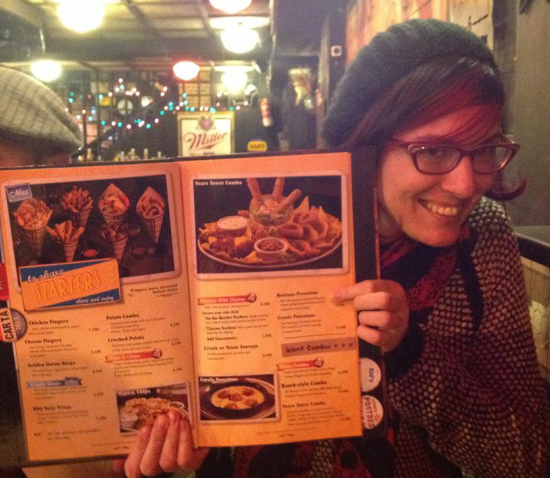 This is me pointing out the Montana Provolone on the menu.  As a Montana girl, I thought this was humorous.