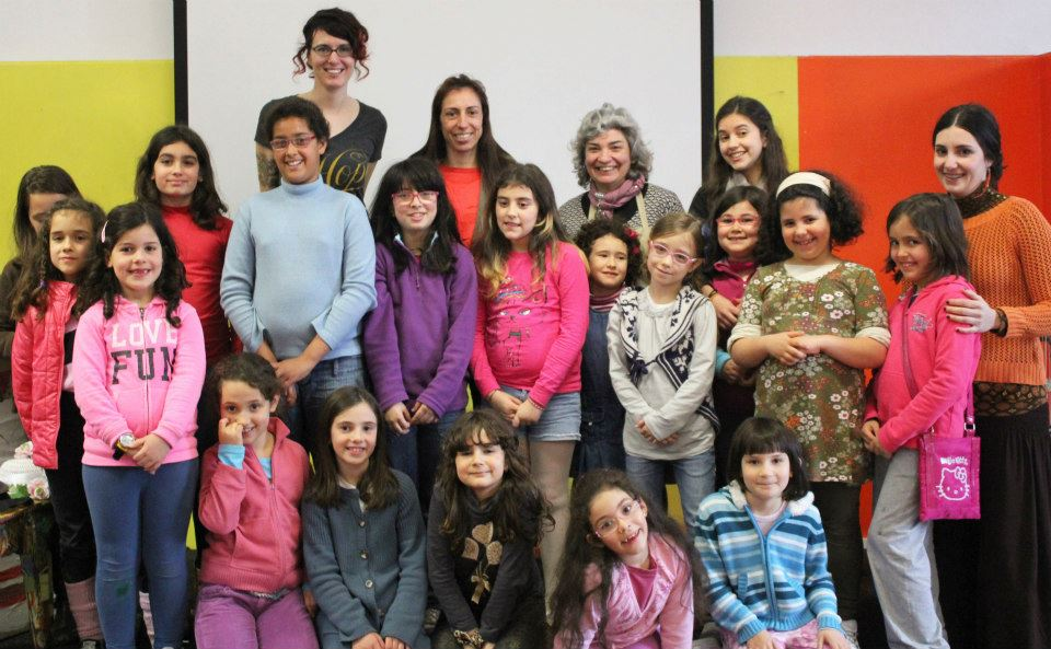 Me (the very tall adult one) with one of the groups of younger students for their art workshop.