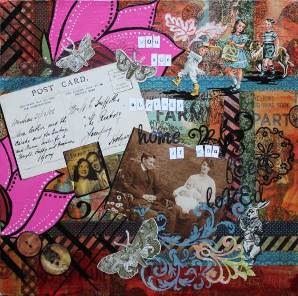 You are already home, 12in x 12in mixed media collage on canvas, 2013