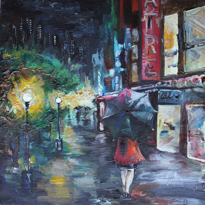 Rainy Night, 18in x 18in acrylic on canvas, 2013