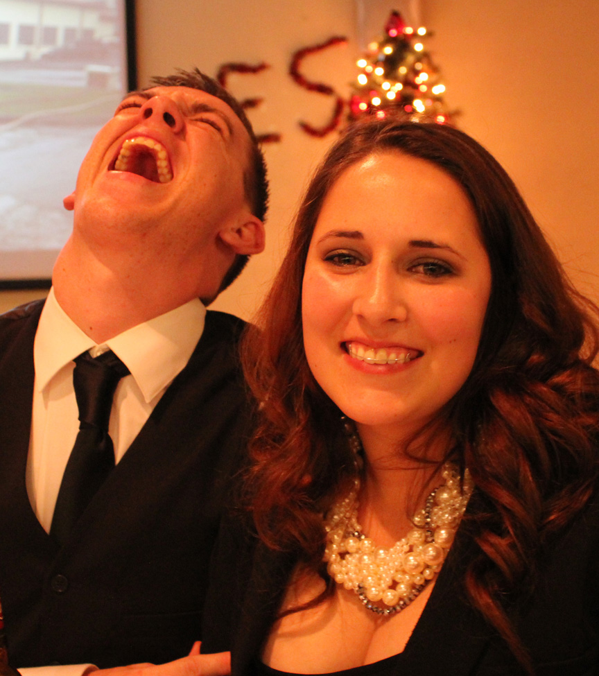 Joshie being weird, and his beautiful wife, Jenessa.