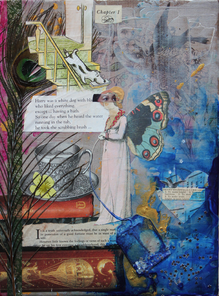 Chapter 1, 10in x 12in mixed media collage on canvas, 2013